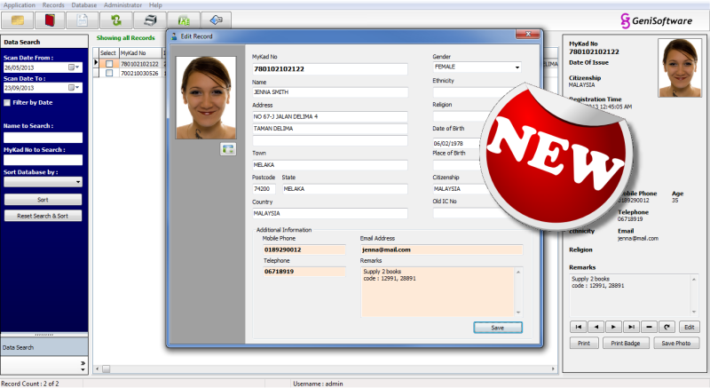 Easy Registration System with MyKad Reader | GeniSoftware